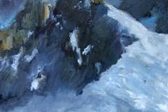 Crépuscule (Parc national des Écrins) - huile sur toile - 80x80cm - collection particulière
