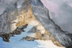 Brume au sommet (Le Mont Assiniboine - Rocheuses Canadiennes)huile sur toile - 100x100cm - collection particulière
