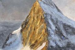 Éclaircie au sommet - huile sur toile - 100x100cm - collection particulière