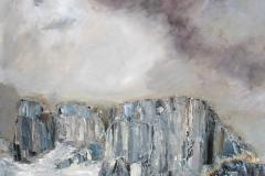 Ciel dans les rocheuses (Les tours du Paine - Chili) - huile sur toile - 120x120cm - collection particulière