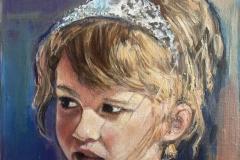 """""""Le Diadème"""" - oil portrait on paper linen texture - 22x22cm"""