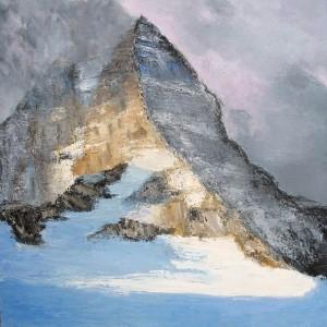 Brume au sommet (Le Mont Assiniboine - Rocheuses Canadiennes) huile sur toile - 100x100cm - collection particulière