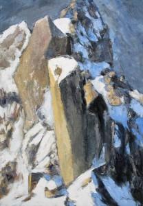 Le chaos de l'aiguille (l'arête des Cosmiques de L'Aiguille du Midi) huile sur toile - 130x89cm (collection particulière)
