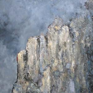 Orage sur la face sud (Trentin-Haut-Adige / Italie) - huile sur toile - 120x120cm