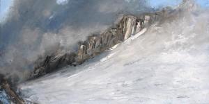 Rêve d'escalade (Les Grands Montets) - huile sur toile - 120x60cm - collection particulière
