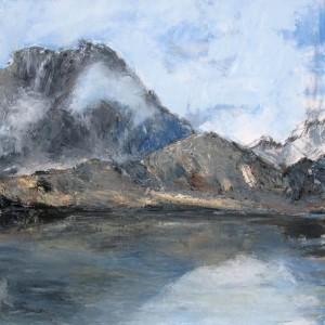 Le lac du Lauzon (Parc des Ecrins) - huile sur toile - 80x80cm - collection particulière