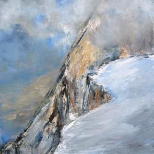 Sur l'arête (Massif du Mont Blanc) - huile sur toile - 70x70cm - collection particulière